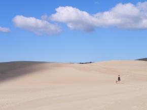 Caminata desde Valizas a Cabo Polonio, con ¨bosco¨el perro que nos seguía fielmente a todos lados